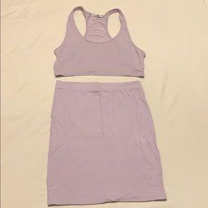 Two piece skirt set (lavender)